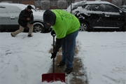 Shoveling snow for a snow removal client in Montgomery County, PA